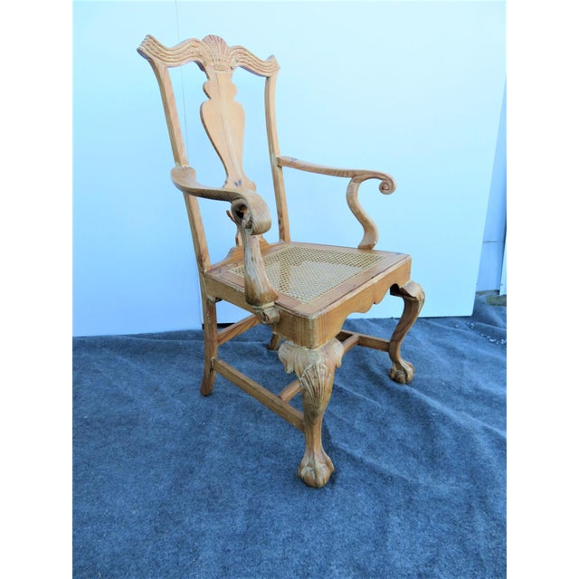 Early 20th Century Early 20th Century English Pine Chippendale Carved Arm Chairs - a Pair For Sale - Image 5 of 9