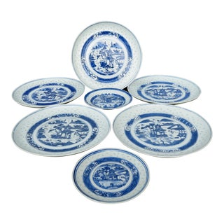 Chinese Rice Grain Plates - 7 Pieces For Sale