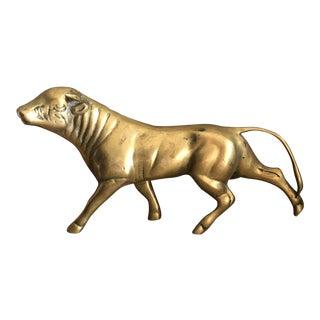 Vintage Large Brass Bull Steer Brass Animal Running For Sale