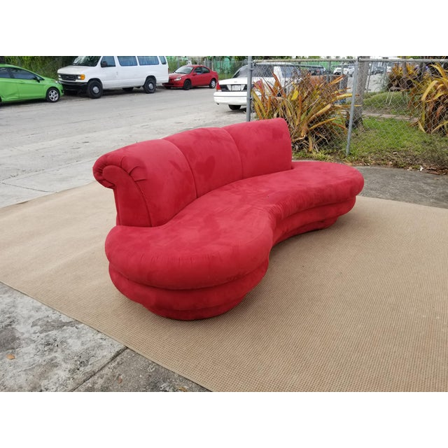 1980s Mid-Century Modern Adrian Pearsall for Comfort Red Curved Sofa For Sale - Image 4 of 12
