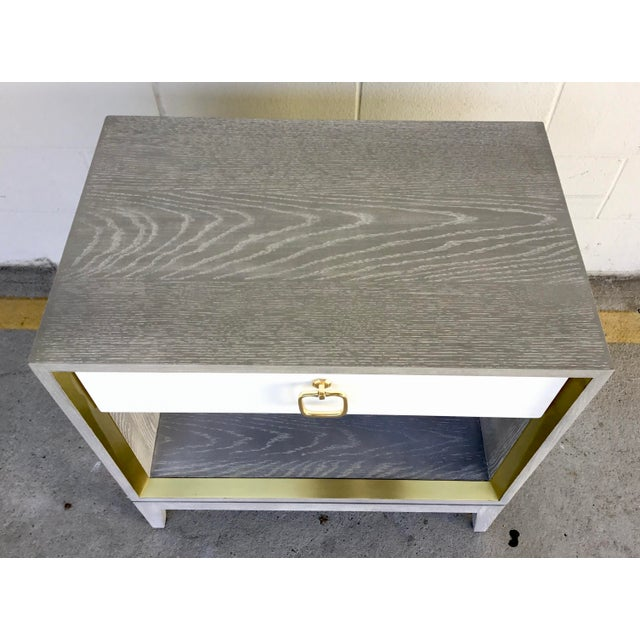 Contemporary Bungalow 5 Modern Cerused Gray Finished One Drawer Side Table For Sale - Image 3 of 8