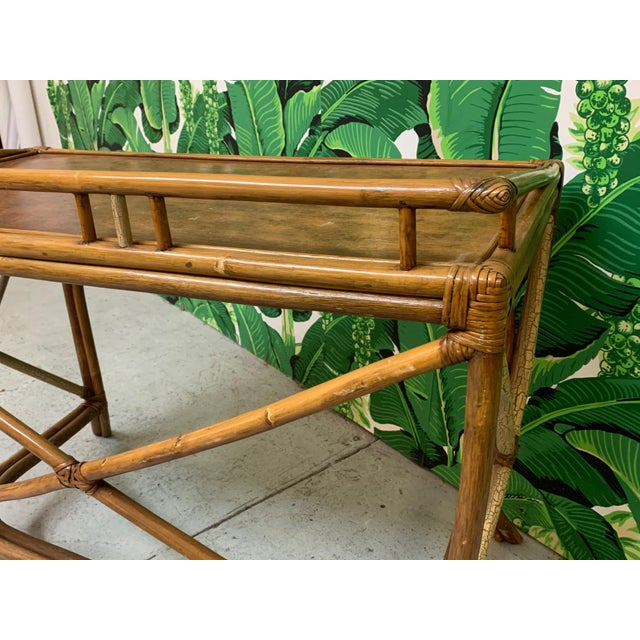 Wood Mid Century Bamboo Desk and Chair For Sale - Image 7 of 13