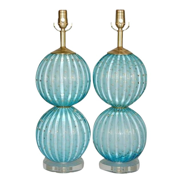 Murano Glass Stacked Ball Table Lamps Blue For Sale - Image 10 of 10