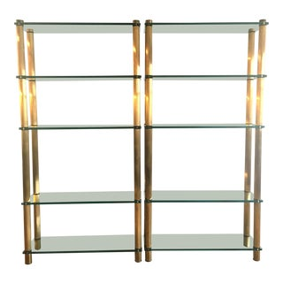 20th Century Hollywood Regency Brass and Glass Etageres - a Pair For Sale