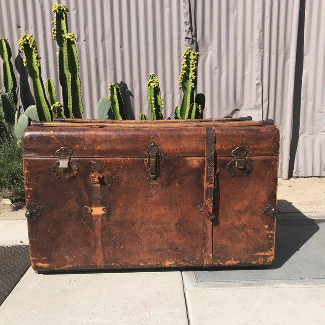 Antique Leather and Wood Trunk, Circa 1890 For Sale - Image 9 of 12