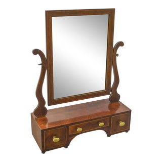 Antique 19th Century Mahogany Shaving Mirror w/ Drawers For Sale