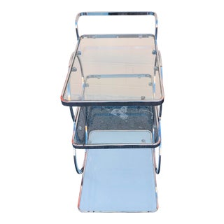 1980s Art Deco Style Chrome Bar Cart For Sale