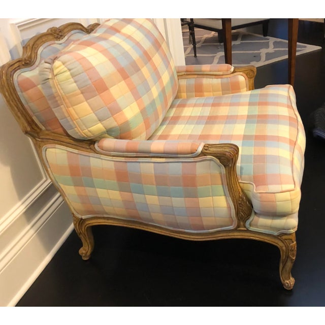 Vintage Upholstered Bergere Style Chair For Sale In Chicago - Image 6 of 12
