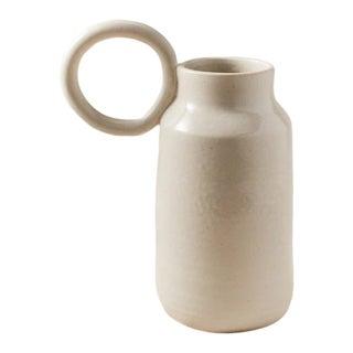 Contemporary Handmade Ceramic Olivia Round Handle Pitcher - Blanc For Sale