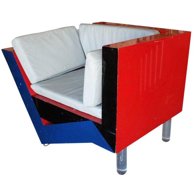 Charles Hollis Jones Post-Modern Memphis Inspired Asymmetric Sculptural Lounge Chair For Sale
