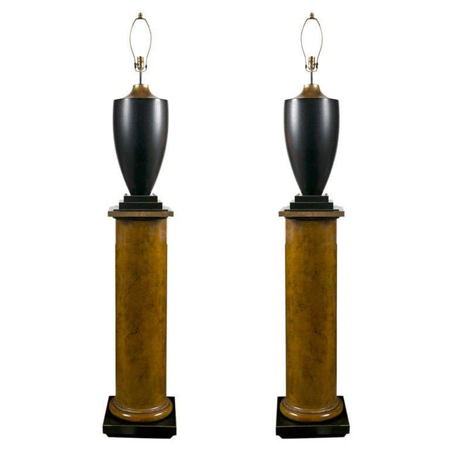 Black Lamps on Column Pedestals - A Pair For Sale - Image 8 of 8