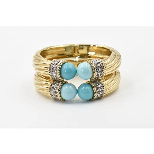 Gold Italian Costume Turquoise Crystal Gold Plated Bangle Bracelets For Sale - Image 8 of 8