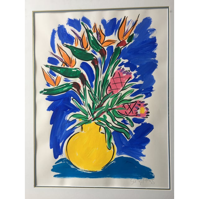 Vibrant original painting, signed by Sally Hess. Dimensions are of the artwork itself. Including the matting, dimensions...
