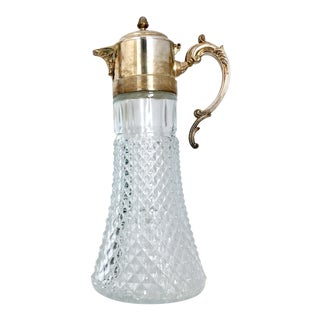 Silver Plated & Crystal Pitcher With Ice Cylinder by Leonard Italy For Sale
