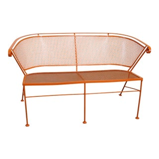Mid-Century Modern Atomic Orange Outdoor Metal Curved Back Bench For Sale
