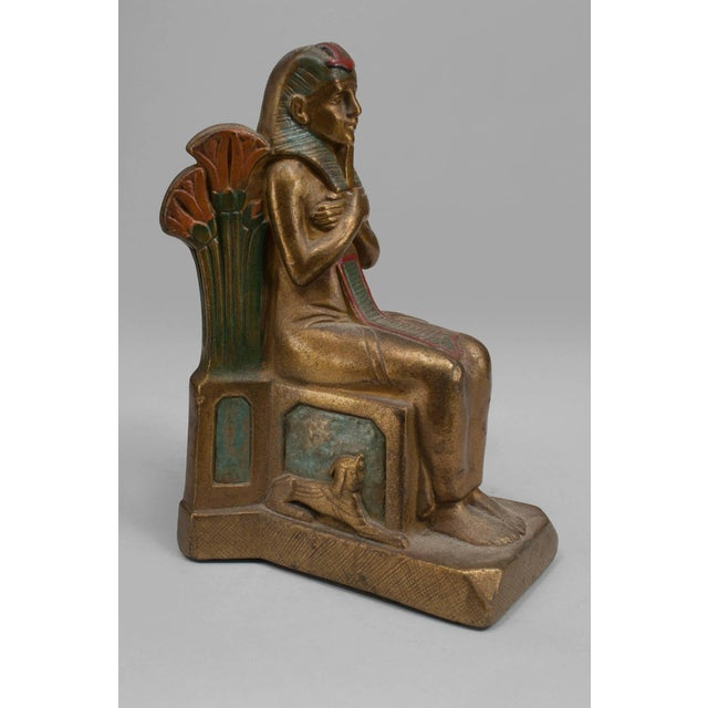 Pair of Early 20th Century Czech, Egyptian Revival Seated Pharaoh Bookends For Sale - Image 4 of 5