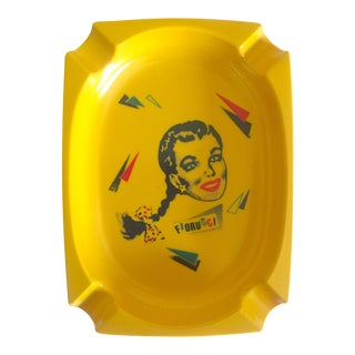 Vintage 1980's Rare Fiorucci New Wave Italian Fashion Iconic Yellow Plastic Post Modern Pop Art Ashtray For Sale