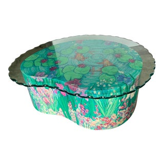 Custom Hand-Painted Lily Pad, Koi Fish, and Flowers, Glass-Top Coffee Table For Sale