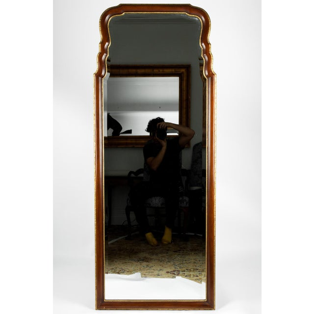 Mid 20th Century Vintage Mahogany Wood Framed Hanging Wall Mirror For Sale - Image 5 of 10