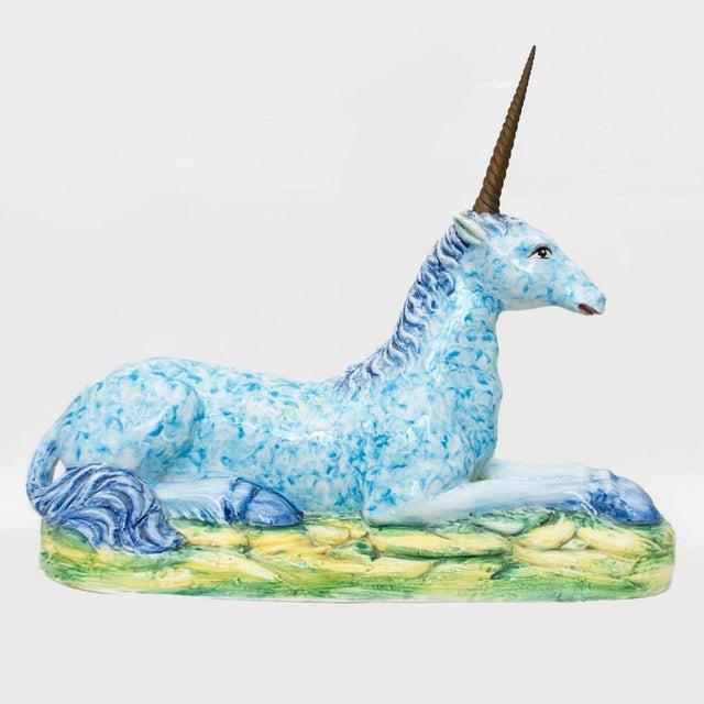 Vintage Italian Mottahedeh Ceramic & Brass Unicorn Sculpture For Sale - Image 12 of 13