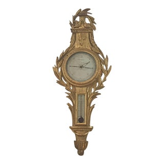 19th Century French Giltwood Morony Wall Barometer Thermometer For Sale