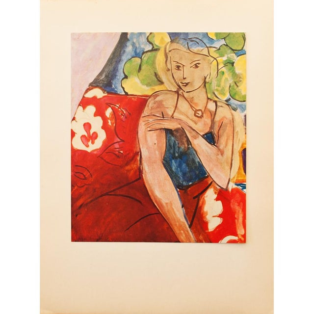 """Red Henri Matisse Original """"Girl on a Red Background"""" Swiss Period Lithograph, C. 1940s For Sale - Image 8 of 8"""