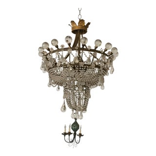 French 3 Tier Crystal Chandelier For Sale