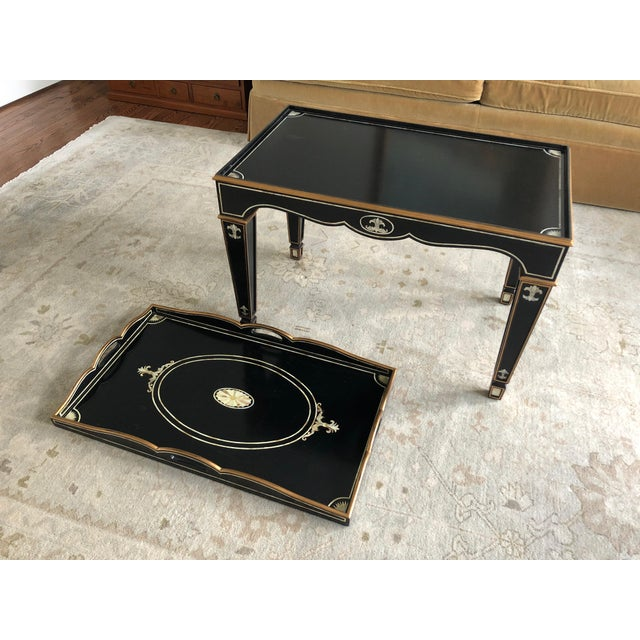 2000 - 2009 Gem of a Hollywood Regency Black Tray Coffee Table For Sale - Image 5 of 13
