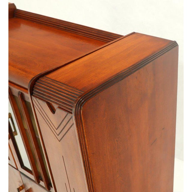 Art Deco Waterfall Lift Top Compartments Bar Storage Sideboard Cabinet Bookcase For Sale - Image 9 of 11