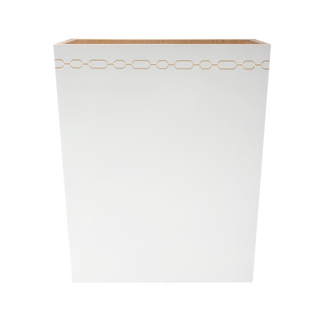 Selamat Designs Hollywood Regency White Wastebasket - Image 1 of 2