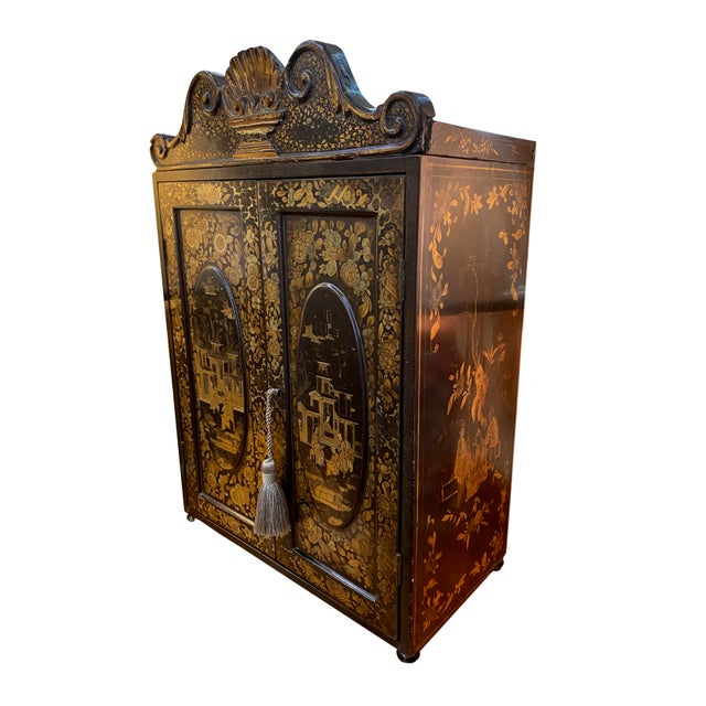 Paint 19th Century Black and Gold Chinoiserie Chest For Sale - Image 7 of 8