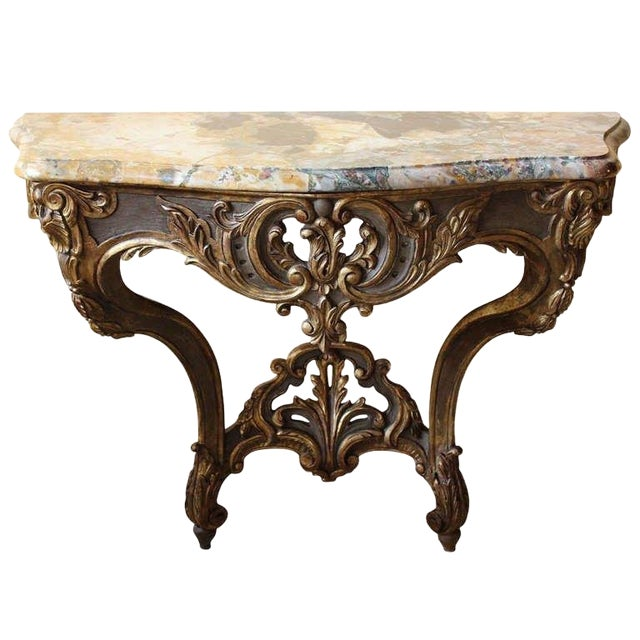Early 18th Century Antique French Louis XV Console Table For Sale