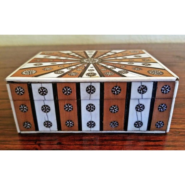 Anglo-Indian 19th Century Anglo Indian Vizagapatam Sunburst Pattern Rectangular Box For Sale - Image 3 of 8