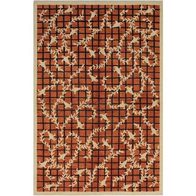 Contemporary Ziegler Angle Drk. Orange Wool Rug - 5′11″ × 8′8″ For Sale