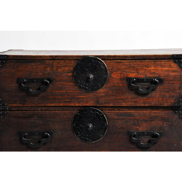 Brown Japanese Tansu With Black Color Hardware For Sale - Image 8 of 13