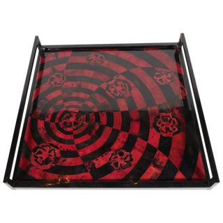 Organic Modern Mosaic Tray in Lacquered Pen Shell For Sale