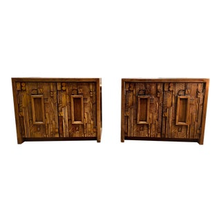1970s Brutalist Lane Nightstands - a Pair For Sale