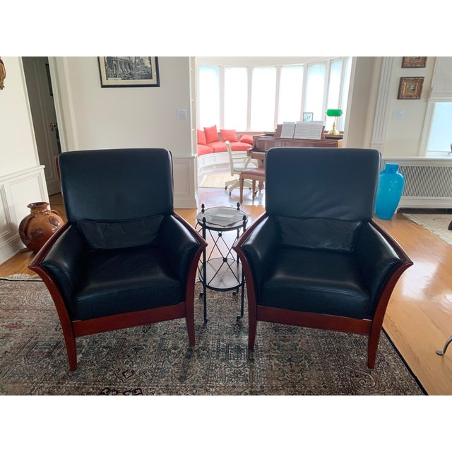 Maurice Villency Maurice Villency Italian Leather Living Room Chairs - a Pair For Sale - Image 4 of 4