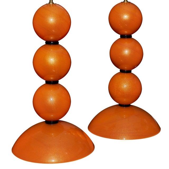 Modern Orange Murano Glass Lamps For Sale - Image 3 of 10