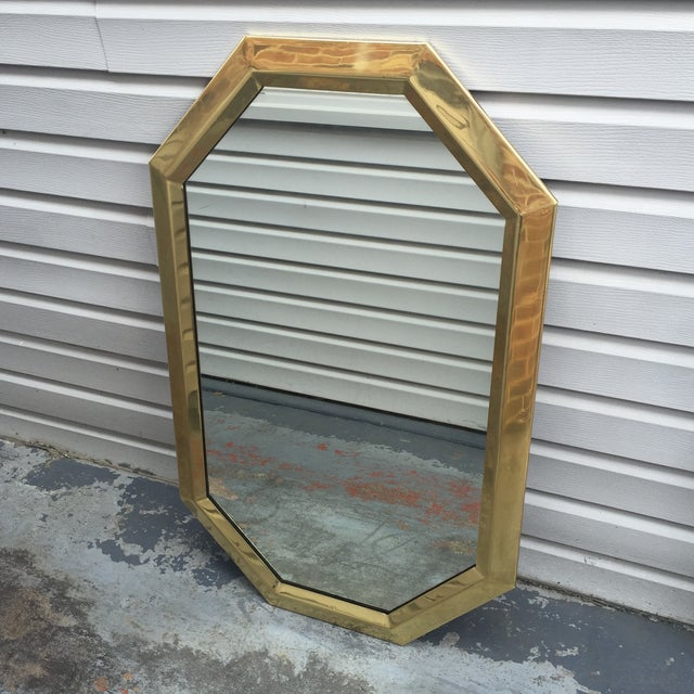 Absolutely stunning modernist large brass 1970's Mastercraft Octagon mirror. Could be hung both horizontally or...