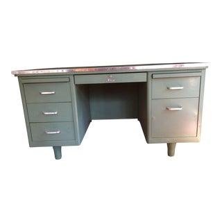 1950s Vintage Fortress Steel Tanker Desk For Sale