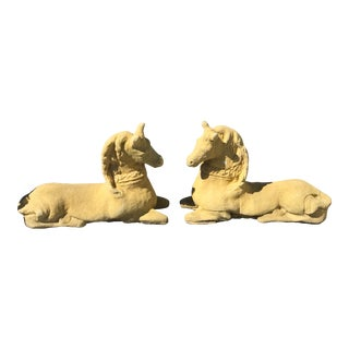 Vintage English Cast Stone Horses - A Pair