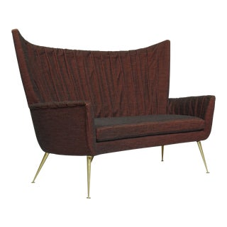 Italian Mid-Century Settee in Burgundy Red Horsehair Fabric on Brass Legs For Sale