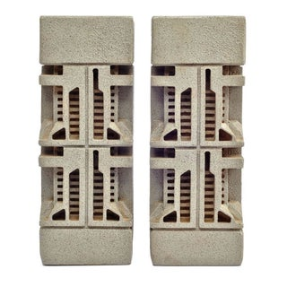 "Frank Lloyd Wright ""Textile Block"" Bookends"