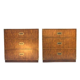 1970s Campaign Dixie Furniture Company 3 Drawer Matching Bachelor Chests - a Pair For Sale