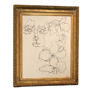 Mid 20th Century Modern Line Mixed-Media Gesso Painting, Framed For Sale