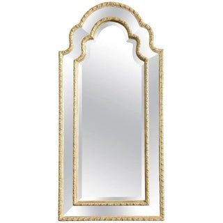 Queen Anne Arched Giltwood Border Glass Mirror For Sale