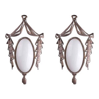 Regency Style Bronze & Glass Sconces - A Pair For Sale