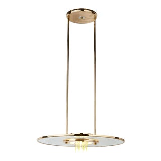 1970s Minimalist Modern Glass and Brass Pendant Light For Sale