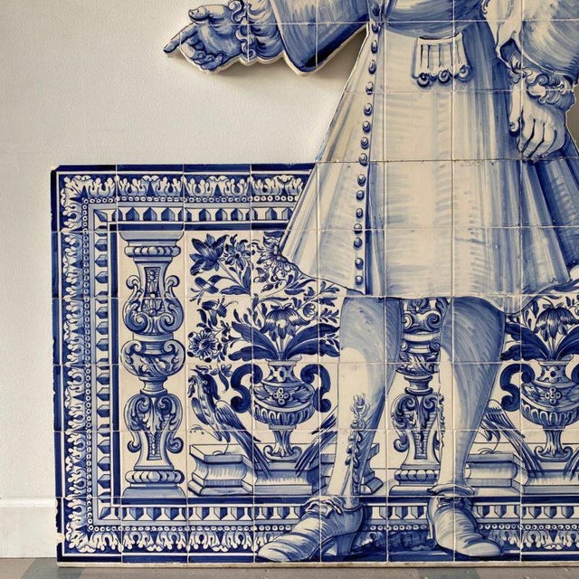 19th Century Portuguese Blue and White Glazed Figural Azulejo For Sale In West Palm - Image 6 of 8
